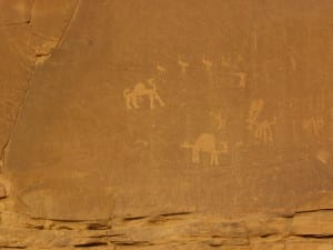 Ancient drawings in Wadi Rum