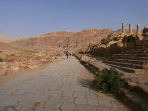 Roman road with Royal Tombs in distance