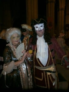 Masked couple at the Georgian dinner